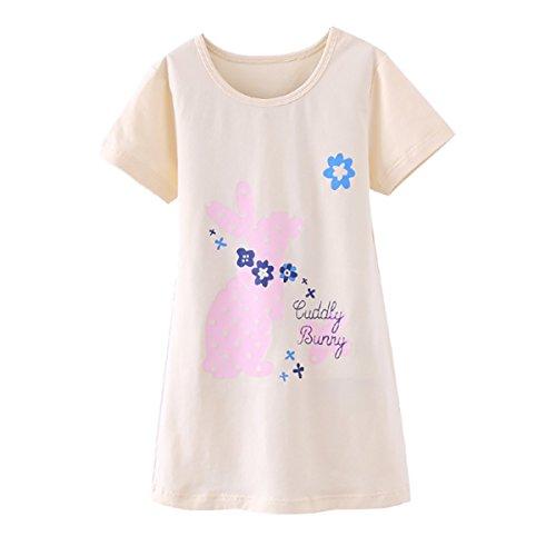 (DGAGA Little Girls Cute Cotton Floral Nightgown Sleepwear Pajamas Sleep Dresses Yellow 4-5 Years /120cm)