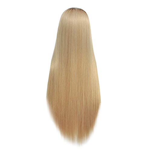 Ydida Women Ladies Sexy Charming Natural Mix Flax Fluffy Straight Long Straight Synthetic Wig Full Lace Wig Front Wig Mixed Golden Wig Natural Mix Long Straight Synthetic Wig Full Wig Front Wig