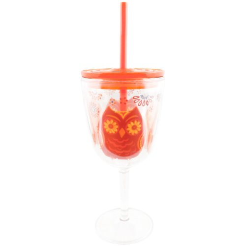 Slant - Orange and Red Owl Pattern Double Wall Acrylic Wine Glass With Straw