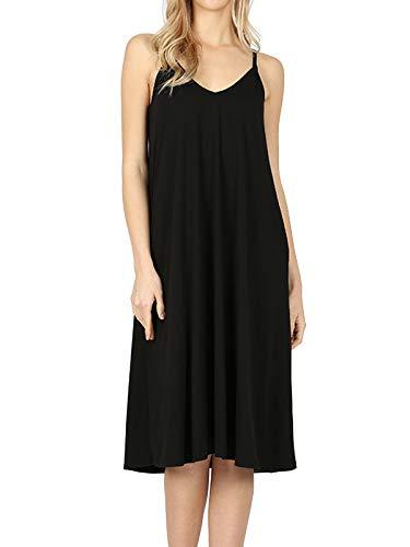 MixMatchy Women's Summer Casual Plain Flowy Pockets Loose Beach Cami Dress Black S