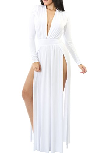 Happy Sailed Women Sexy Sleeve High Waist Hollow Out Cocktail Maxi Dress, Medium White