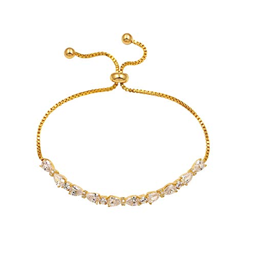 Gold Elegant Bracelets - WeimanJewelry Real Gold Plated Adjustable Teardrop and Round Cut CZ Cubic Zirconia Bridal Chain Bracelet for Women (Gold)