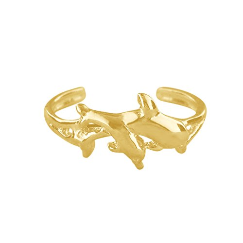 (14kt Yellow Gold Plated Sterling Silver Dolphin Toe Ring )