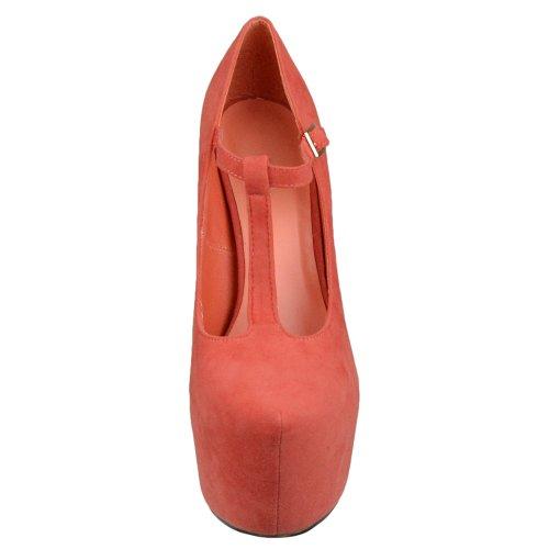 Zapatos De Plataforma Para Mujer Bombas De Tacón De Aguja Con Punta Cerrada Zapatos Naranja