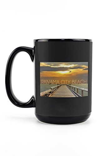 Panama City Beach, Florida - Pier at Sunset (15oz Black Ceramic Mug - Dishwasher and Microwave - Panama City Pier Park Beach Florida
