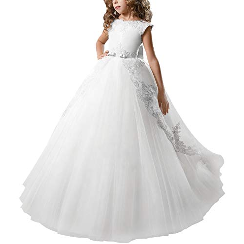 First Communion Dresses Flower Girl Kids Fancy Tulle Satin Lace Cap Sleeves Floral Applique Pageant Fairy Princess Party Gown White 8-9 -
