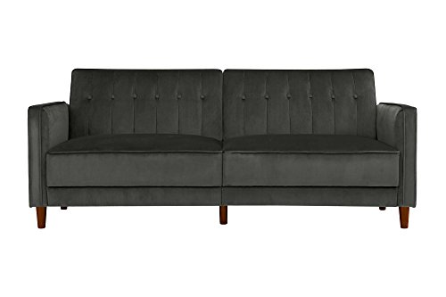 DHP DZ66529 Ivana Tufted Futon, Grey Velvet (Couches Apartment Size)