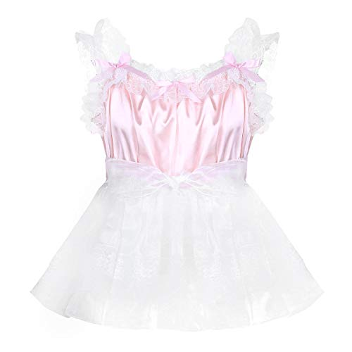 Yeahdor Adult Mens Baby Doll Sissy Crossdressing Lingerie Dresses Silky Satin Nightie Pajamas Nightwear Pink Large]()