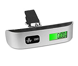 Digital Luggage Scales, Travel Scales with Backlight Display for Suitcases and Bags, 110 lb/50KG, with Auto-Off and Tare Function, Temperature Sensor Included