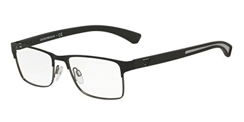 1052 Glasses - Armani EA1052 Eyeglass Frames 3094-53 - Black Rubber/matte Gunmetal