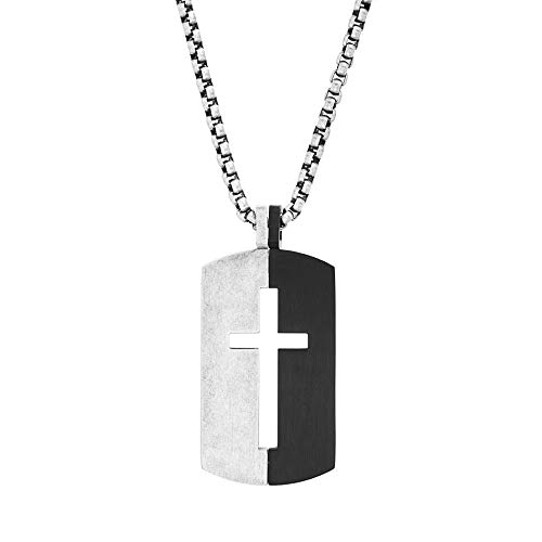 Steve Madden Men's Black and Silver Cross Design Dogtag Necklace on 26