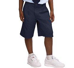 French Toast Uniforms Boys' Husky Adjustable Waist Pleated Short (Navy 10H)