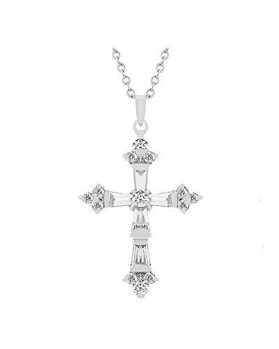 Genuine Rhodium Plated Cross Pendant with Cubic Zirconia Baguettes