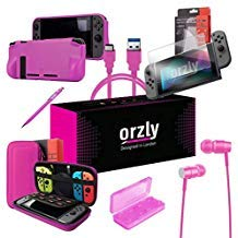 Orzly Switch Accessories Bundle, Pink Orzly Carry Case for Nintendo Switch Console, Tempered Glass Screen Protectors, USB Charging Cable, Switch Games Case, Comfort Grip Case, Headphones) Pink (Cable Switch Cover)
