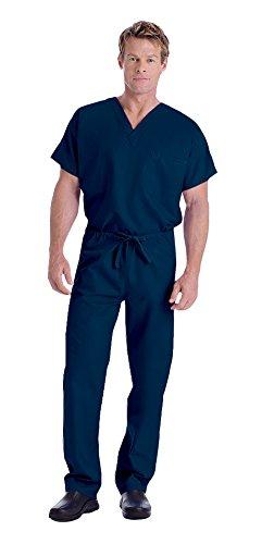 Landau Unisex V-Neck Scrub Top 7502 & Scrub Pant 7602 Medical Uniform Scrub Set (Navy - XX-Large/XXL Tall)