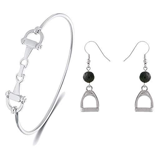 (SENFAI Horse Snaffle Bit Hook Clasp Charm Bracelet Bangle Jewelry (Silver Bracelet + Earring,3))