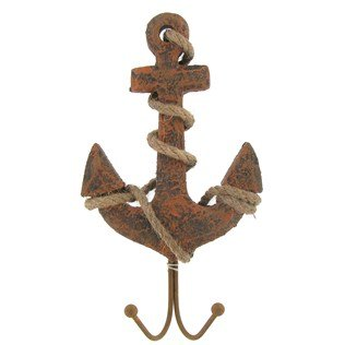 Weathered Finish Pinewood Ship Anchor Nautical Wall Hook ()