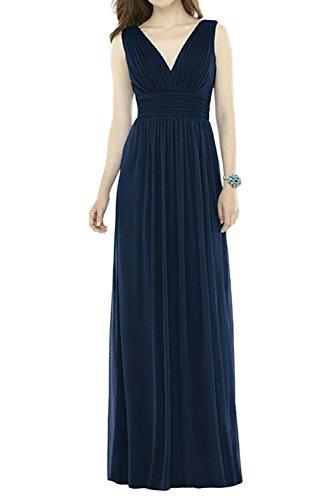 Lang Dunkel Brautjungfernkleider V Chiffon Blau Blau Partykleider Cocktailkleider Einfach linie Rock A Navy Bride ausschnitt Milano z0wxnq5fpp