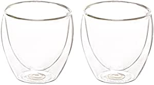 Bodum Pavina Glass, Double-Wall Insulated Glass, Clear, 2.5 Ounce.08 Liter Each (Set of 2)