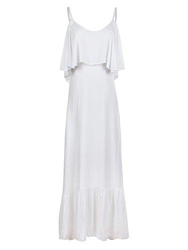 Anna-Kaci Womens Drape Ruffle V-Neck Off Shoulder Spaghetti Strap Maxi Dress,White,Medium