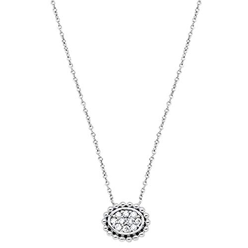 (14K Gold, White Gold or Rose Gold 0.13 cttw Diamond Oval Shape Solitaire Pendant Necklace (14, 16, 18