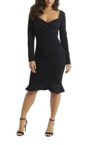 Cheap LIPSY Womens Long Sleeve Ruched Flute Hem Bodycon Dress