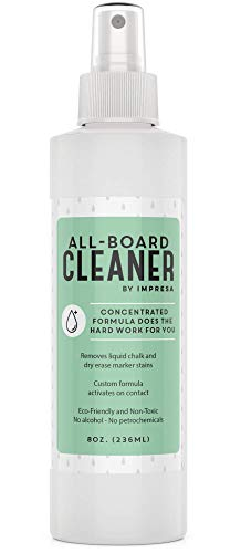 Board Cleaner - Chalkboard Cleaner Spray/Whiteboard Cleaner Spray - Safe, Gentle, Non-Toxic - Made in the USA - Works with Dry Erase, Chalk, Liquid Chalk and More