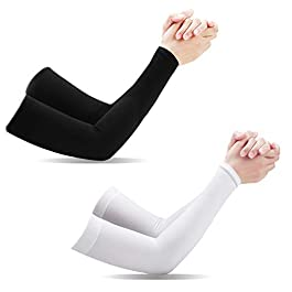 Aegend Arm Sleeves, [ 2 Pairs ] Cooling UV Protection [ UPF 50 Sun Sleeves ] for Men Women Youth Arm Support for Cycling Golf Baseball Basketball Tattoo Arm Compression Sleeves-Black White Grey,One Size Fit Most