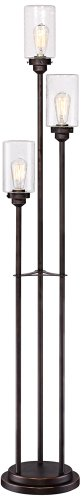 Libby Oiled Bronze 3-Light Seeded Glass Floor Lamp - Amber Rustic Floor Lamp
