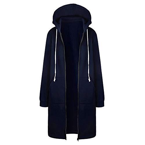 Women Warm Zipper Open Hoodies Sweatshirt Long Coat Jacket Tops Outwear Navy