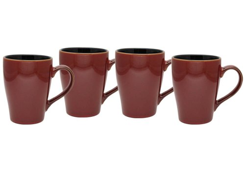 Culver 16-Ounce Sherwood Ceramic Mug, Russet, Set of 4