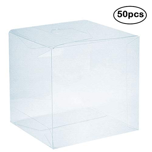 Clear Wedding Favor Boxes (Clear PVC Plastic Boxes, 2 x 2 x 2 inch Plastic Gift Box Square Containers Transparent Packing Box for Party Favors, Wedding, Birthday Presents, Candy, Cupcakes, Jewelry,)