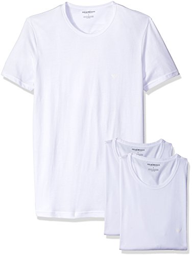 Emporio+Armani+Men%27s+Cotton+Crew+Neck+T-Shirt%2C+3-Pack%2C+White%2C+Medium