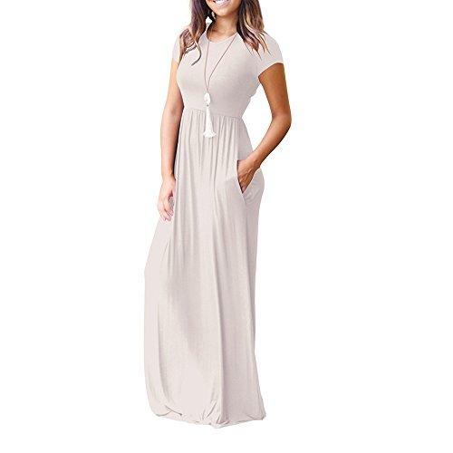 Vestito Vestito Manica Corta Casual Tinta Elastico Abiti Topgrowth Unita Lunghi Lungo Bianca Donna Sciolto con Tasche Vestito 4pxqdSw