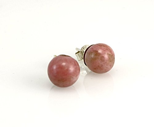 Sterling Silver Genuine Round Rosy Pink Rhodonite Gemstone Handmade Ball Stud Earrings