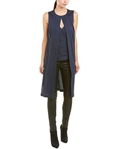 BCBGMAXAZRIA Womens Pinstripe Linen-Blend Tunic, L, Blue -