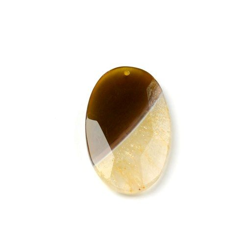 - 1 x Yellow Banded Agate 36 x 56mm Pendant (Faceted Oval) - (CB48323) - Charming Beads