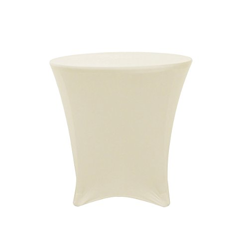 - OKSLO Ycc linen - 30 x 30 inch lowboy cocktail round stretch spandex table cover ivory