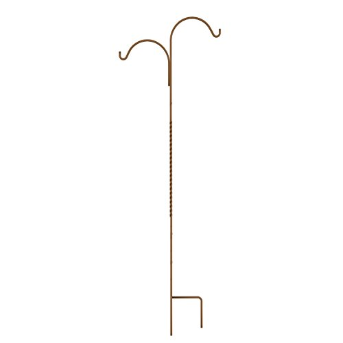 Panacea 89130 84'' Rustic Rust Double Offset Twisted Wire Shepherd Hook by Panacea