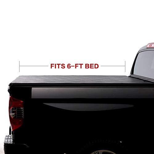 North Mountain Soft Vinyl Roll-up Tonneau Cover, Fit 83-11 Ford Ranger 94-10 Mazda B2300/B2500/B3000/B4000 Pickup 6ft Bed, Clamp On No Drill Top Mount Assembly w/Rails+Mounting Hardware