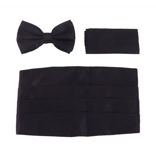 HDE Tuxedo Set Men's Formal Satin Blend Bow Tie, Cummerbund, and Pocket Square
