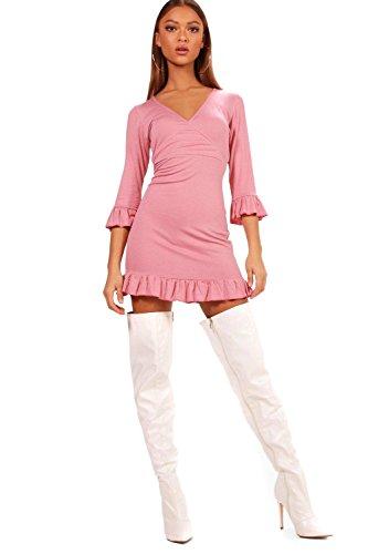 Damen Puderrosa Yazmin Ruffle Detail Jersey Tea Dress Puderrosa ...