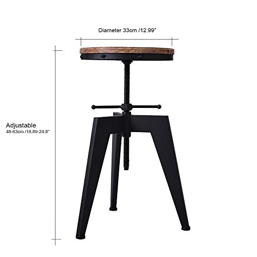 Articial Wood and Metal Bar Stool,Swivel Kitchen Dining Chair,Vintage Industrial Bar Stools, Adjustable Height
