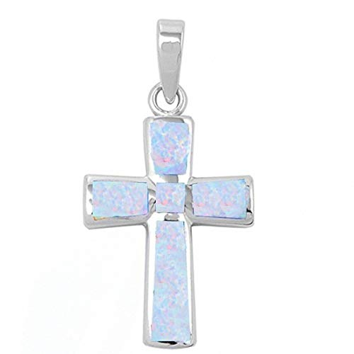 Cross Pendant Created White Opal 925 Sterling Silver