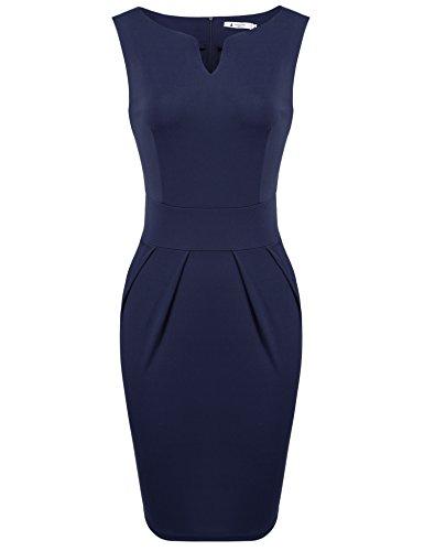 ANGVNS Women V Neck Sleeveless Sexy Cocktail Sheath Dress, Navy Blue, L