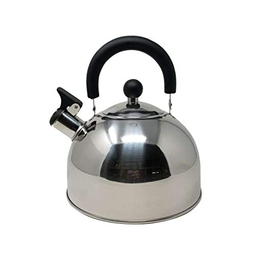 (American Dream Tea Kettle 10 Cup 2.6 Qt. Loud Whistle Stainless Steel Culinary Food Grade Tea Kettle with Soft Grip Cool Touch Foldable Handle Anti-Rust Stove Top Capsuled Bottom Teapot)