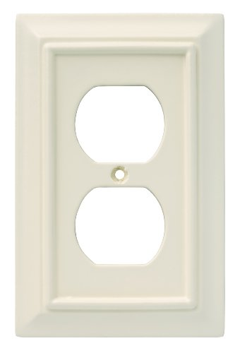 Brainerd 126444 Wood Architectural Single Duplex Outlet Wall Plate / Switch Plate / Cover, Light Almond