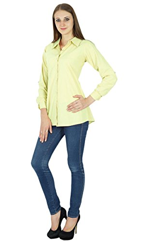 Top camisa de algodón de manga larga corta sólida Kurta Ropa De color amarillo pálido