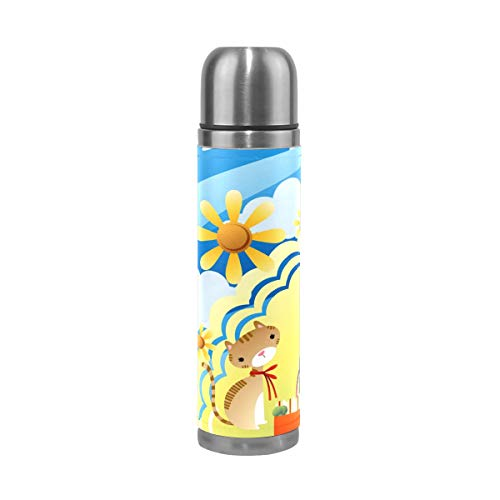 Coffee Thermos Girl Enjoying Picnic Sports Insulated Stainless Steel Water Bottles Leak Proof Double Wall Thermos Leather Cover Vacuum Insulated Kids Thermos Flask Fits Backpack Lunchbox 17oz