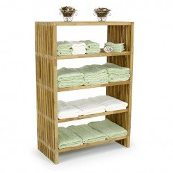 Amazon Com Westminster Teak Storage Floor Towel Shelf